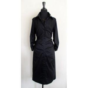 Rene Lezard Black Stretch Silk Ruched Shirt Dress